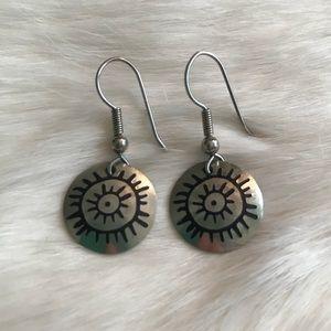 """Jewelry - Silver Circle """"Sun"""" Earrings"""